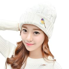 5.75$  Buy now - http://alialq.shopchina.info/go.php?t=32758089180 - Sheila 2017 New Fashion Women Lady Girls Warm Knitted  Hats Cap Slouchy Knit Beret Plus Velvet Embroidery Thick Femme Hat Oct28 5.75$ #aliexpress