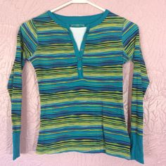 Arizona Jean Co Girls Thermal Shirt Size M 10/12 Long Sleeve Striped Blue Green  #Arizona #Everyday