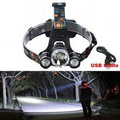 [S$30.00](▼50%)BORUiT High Power 3X CREE XM-L T6 4 Modes LED Headlamp Headlight