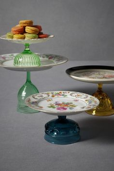 vintage plates made into cake stands.  Love it!