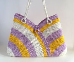 Colorful summer bag straw beach bag tote bag hand by RUMENA, $75.00