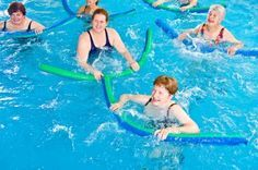Swimming pool exercises using a noodle