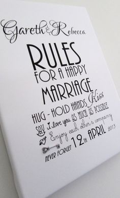 "Personalised Rules For A Happy Marriage Wedding Day , Anniversary Print On Read To Hang Canvas  12"" - 8"" ( A4 ) Word Art Gift Sign Key"