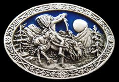 INDIAN NATIVE ART HIPPIE ERA PEACE VINTAGE HORSE BELT BUCKLE