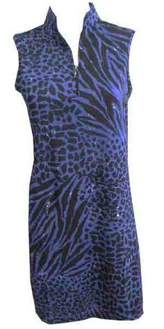 Bahama DKNY Ladies Sleeveless Golf Dress - Blue, black, and a hint of white print golf dress! #golf #dkny #lorisgolfshoppe