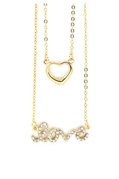 Layered Crystal Love Necklace in Gold.