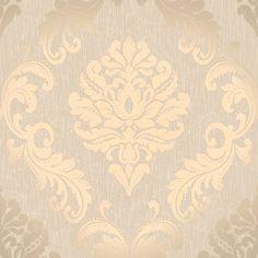 Henderson Interiors Chelsea Glitter Damask Wallpaper Taupe / Silver (H980512)
