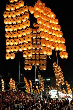 Kanto Festival(竿燈まつり) in Akita, Japan. The festival is first referred to in a travel diary of 1789. It is held every year from Aug 3rd to 7th in hope for a good harvest.