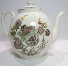 Antique Aesthetic Brown Transferware Polychrome ChinoiserieTea Pot Pavia 1881 in… British Tea Time, Aesthetic Movement, Tea Blends, Old And New, Tea Pots, Porcelain, Pottery, Ceramics, Antiques