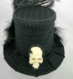 Mini Top Hat Skull Cameo with Pin Stripes by FirstSightCreations