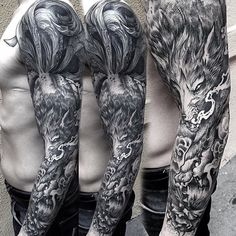 """Intricate B&G Wolf Full-Sleeve by @grindesign"