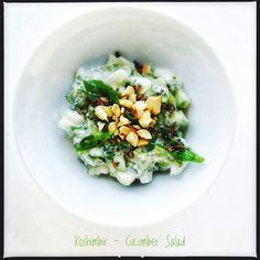 Khamang Kakdi Koshimbir   Maharashtrian Cucumber Salad Indian Food Recipes, Vegetarian Recipes, Ethnic Recipes, Indian Salads, Cucumber Salad, Risotto, Vegetables, Cooking, Hot