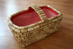 Recycle wine corks to give a plain basket new life