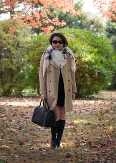 Trench coat and oversized square scarf | Fall fashion