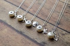 Bridesmaid Gifts - Set of 5 Nautical Necklaces | Sterling Silver Jewelry | Seahorse Turtle Starfish Anchor Sand Dollar Pearl with Crystal by GlassPoppies on Etsy