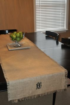 More ideas for the burlap table runner --- add monogram stencil! Also instructions for adding lace or ruffles!