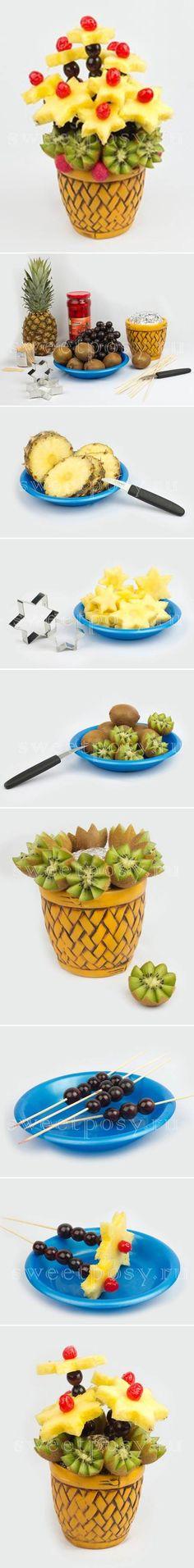 Cesta de fruta que parece flores.