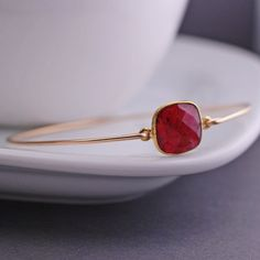 Gold Ruby Bracelet, July Birthstone, Gold Bangle Bracelet, Red Ruby Jewelry