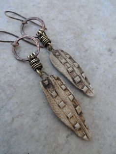 Ancient Relics/Modern Twist ... Rustic Clay, Copper Ring and Brass Earrings