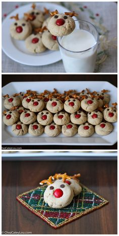 Peanut Butter Reindeer Cookies - the cutest Christmas cookies ever, and they taste amazing too! | ChezCateyLou.com
