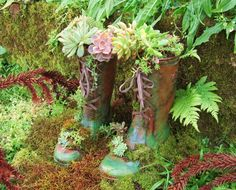 Recycling rubber boots. Garden planters. Cutting and artistic painting imitating leather and moss