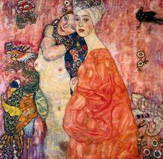 """""""Women Friends"""", oil on canvas ~ Art Nouveau by Gustav Klimt, (1862 - 1918)."""