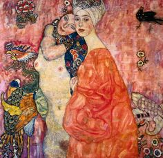 """Women Friends"", oil on canvas ~ Art Nouveau by Gustav Klimt, (1862 - 1918)."