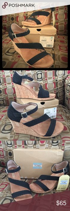 NWT Toms Wedge Sandals New With Tags!! Toms Clarissa Black Textile with Cork Wedge. Price is firm. Toms Shoes Sandals