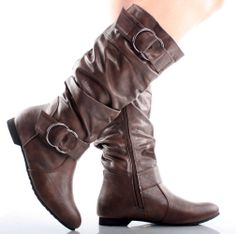 Brown Distressed Faux Leather Ruched Fashion Womens Flat Knee