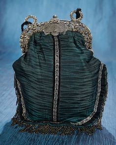 Early 19th Century Silk Purse with Elaborate Silver Frame. Early 19th century. http://Theriaults.com