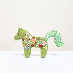 Horse Brooch. Mustard Fabric Brooch. Golden Pony. by NariDesignPot
