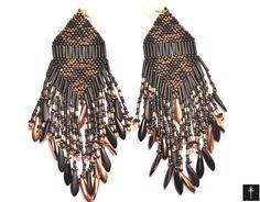 Native American Beaded Earrings Inspired black Long by BYTWINS