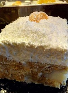 Greek Desserts, Cold Desserts, Greek Recipes, No Bake Desserts, Cookbook Recipes, Cooking Recipes, Greek Cake, Custard Cake, Vanilla Cake