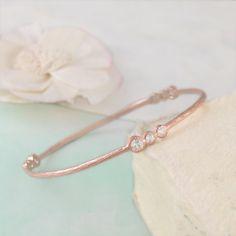 Rose Gold Bangle, Diamond Bracelet, Gemstone Bracelet, Gold Bangle, Stylish Bracelet, White Topaz Bracelet, Organic Bracelet, Semi Precious by EmbersJewelleryShop on Etsy https://www.etsy.com/uk/listing/251957296/rose-gold-bangle-diamond-bracelet