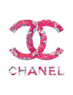 Floral Chanel Logo fashion illustration art print by KomaArt