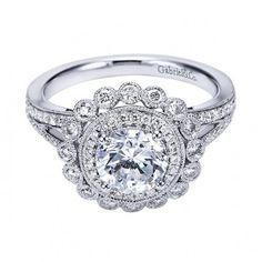 Antique Style Double Halo Engagement Ring Setting ER7542W44JJ
