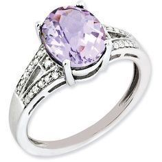 Sterling Silver Diamond & Oval Pink Quartz Ring ($98) ❤ liked on Polyvore featuring jewelry, rings, sterling silver, diamond jewellery, sterling silver rings, quartz jewelry, pink sterling silver ring and oval ring
