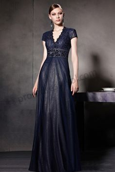 Dark Blue Cap Sleeve V-Neck Empire Waist Ball Gown BY560