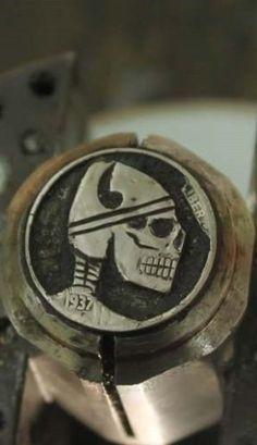 Coalburn-classic-Hobo-Nickel-engraved-Love-Token-viking-skull-art-OHNS