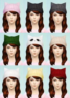 The Sims 4 Cat Ear Beanie & Knit Beret for Little Girls Female Child CAS Accessory New Mesh