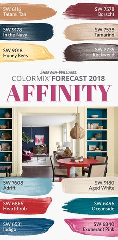 One of three palettes in our Colormix Forecast 2018, the bright folklore of Affinity is told in memorable pops of peacock color: Honey Bees SW 9018, Heartthrob SW 6866, Exuberant Pink SW 6840 and others lead the charge, with hues like Tatami Tan SW 6116, Adrift SW 7608 and Aged White SW 9180 providing the perfect foil. Here, nationalism and globalism are in flux, remapping our sense of community and crave for adventure, resulting in a culture of everyday nomadism.