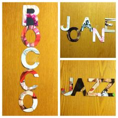 RA Ebony- Dominican College  Magazine letter cutout door tags. Simple but time consuming and allows you to incorporate things your residents like.