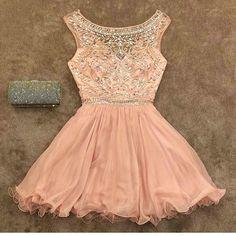 Blush Pink Homecoming Dress,Homecoming Dresses,Beading Homecoming Gowns,Short…