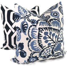 Blue and Periwinkle Jacobean Indoor Outdoor Pillow by PopOColor