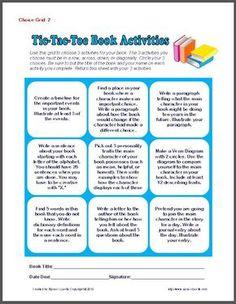 Book Report TicTacToe Multiple IntelligencesAuthenic