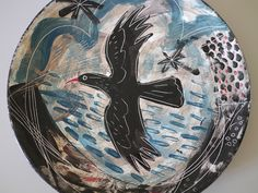 A Mark Hearld decorated plate displayed at home. http://www.stjudesprints.co.uk/collections/mark-hearld