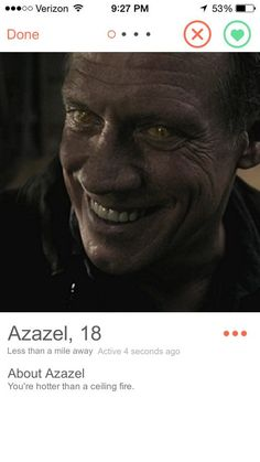 """The Yellow-Eyed Demon   Community Post: If """"Supernatural"""" Characters Had Tinder Click through for the rest! Hilarious!"""