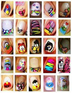 Various nail designs Fancy Nails Designs, Nail Polish Designs, Nail Art Designs, Get Nails, Hair And Nails, Snoopy Nails, Funky Nails, Colorful Nails, Manicure E Pedicure