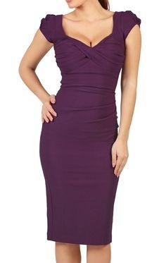 Nigella Aubergine Bodycon Dress With Sweetheart Neckline