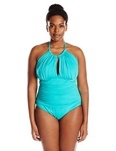 23ff4ab603 Kenneth Cole Reaction Women s Plus-Size Ruffle Shuffle Solid Hi Neck One  Piece Swimsuit